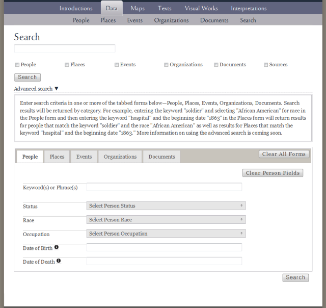 screenshot of basic keyword and advanced search form for Civil War Washington Database